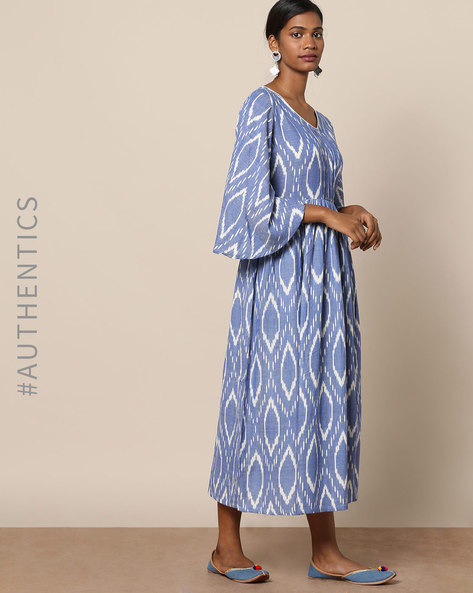 Handloom Ikat Fit & Flare Cotton Dress By Indie Picks ( Blue )