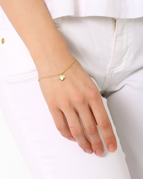 Matte Gold-Plated Charm Bracelet By AJIO ( Gold )