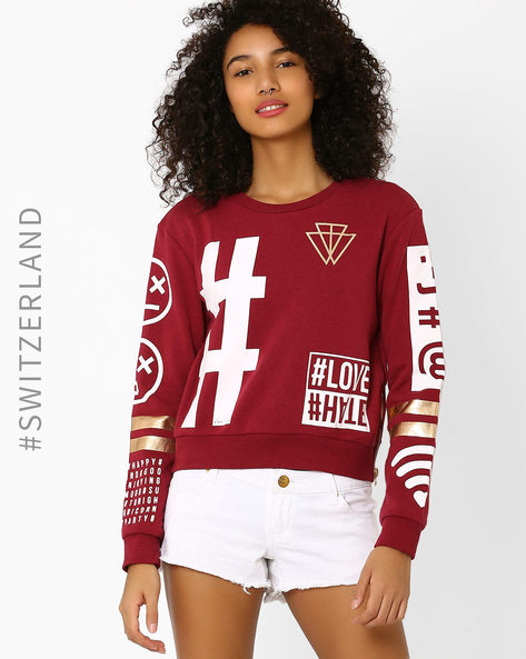Graphic Print Sweatshirt By TALLY WEiJL ( Wine )