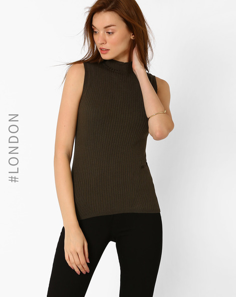 High-Neck Ribbed Top By Marks & Spencer ( Khaki )