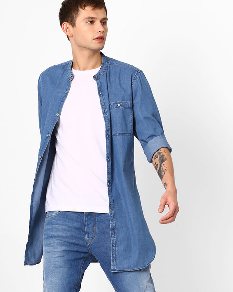 Longline Shirt With Mandarin Collar By ADAMO LONDON ( Blue )