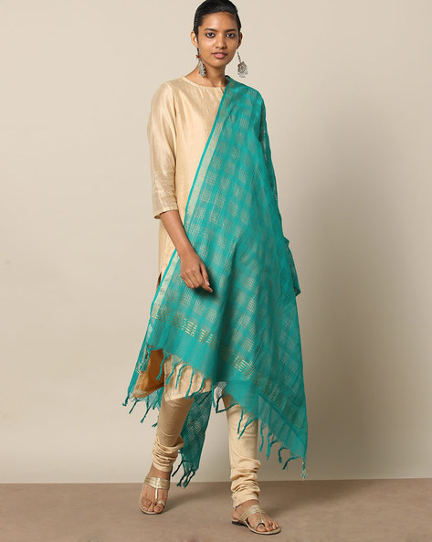 Missing Checked Cotton Dupatta With Zari Border By Indie Picks ( Blue )