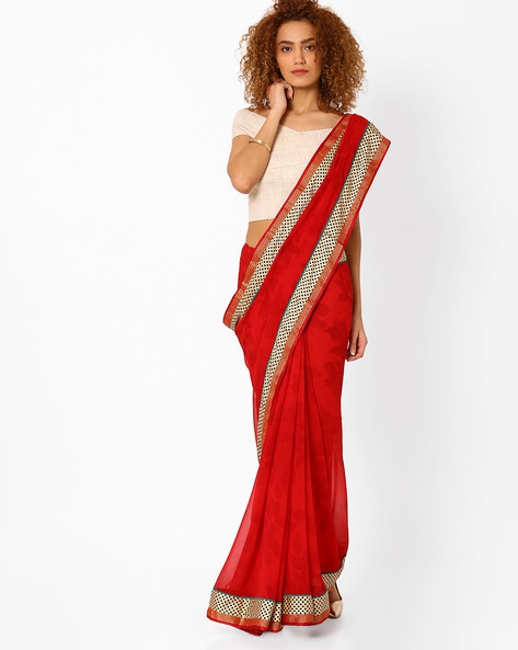 Leaf Print Saree With Contrast Border By Arissa ( Red )