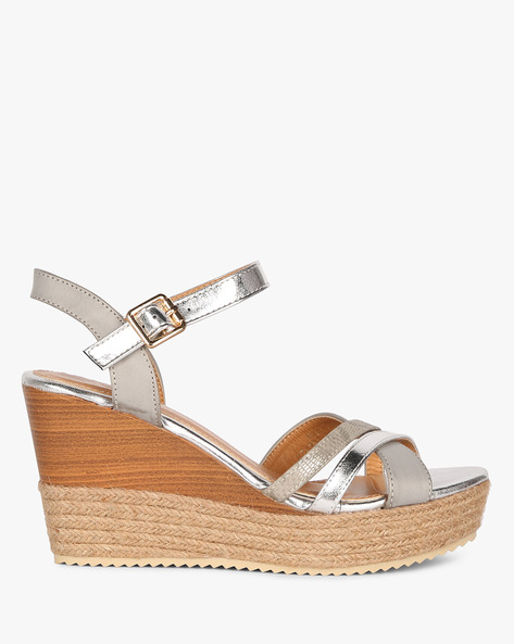 Ankle-Strap Wedges With Braided Midsole By AJIO ( Grey )