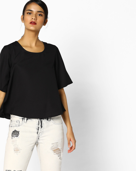 Woven Round-Neck Boxy Top By Project Eve WW Casual ( Black )