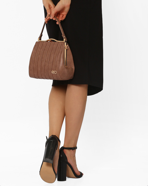 Faux-Leather Satchel With Striped Overlays By E2O ( Pink )