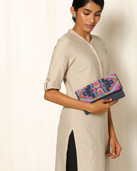 Embellished Cotton Sling Bag By Indie Picks ( Multi )