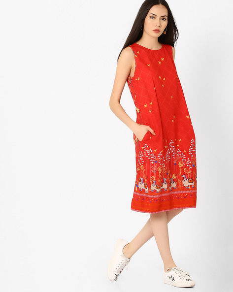 Sleeveless Printed Dress By Global Desi ( Coral )