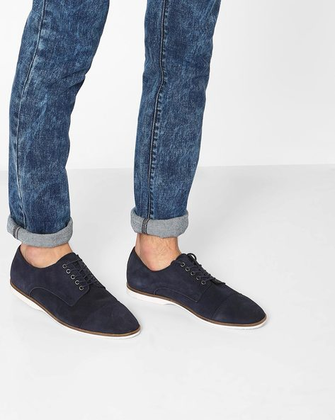 Derby Shoes With Toe Cap By Carlton London ( Navy )