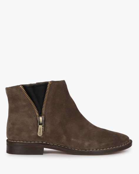 Suede Ankle Boots By CLARKS ( Khaki )
