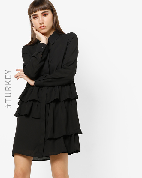 Mini Shirt Dress With Ruffled Panels By TRENDYOL ( Black )