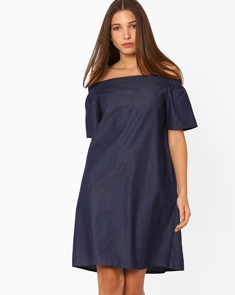 Off-Shoulder Denim Dress By Rena Love ( Blue )