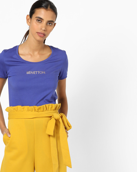 Crew-Neck T-shirt With Brand Print By UNITED COLORS OF BENETTON ( Blue )