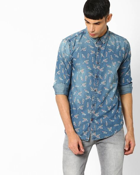 Printed Slim Fit Shirt By BASICS ( Navy )