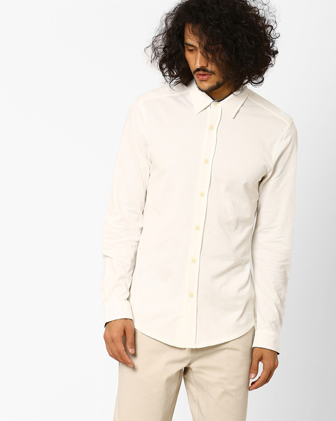 Slim Fit Shirt With Curved Hemline By Jack & Jones ( White )