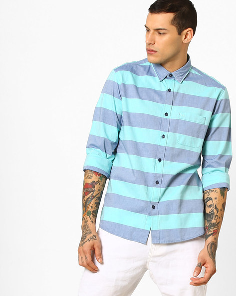 Beach Glass Weft  Striped Shirt By BASICS ( Green )