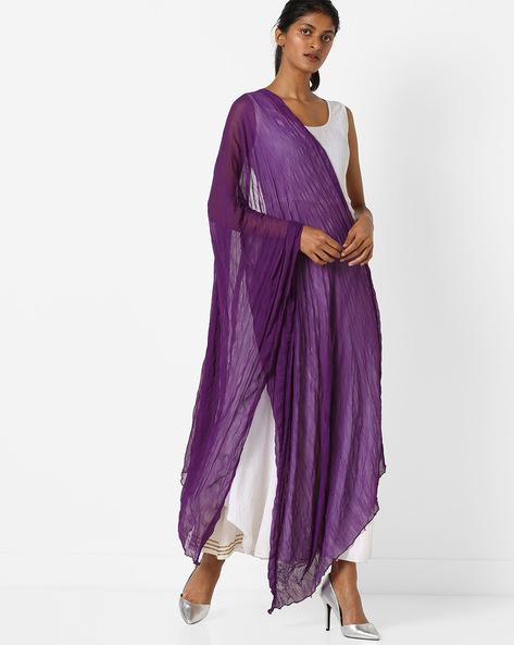 Crushed Dupatta With Embellished Border By Melange By Lifestyle ( Purple )