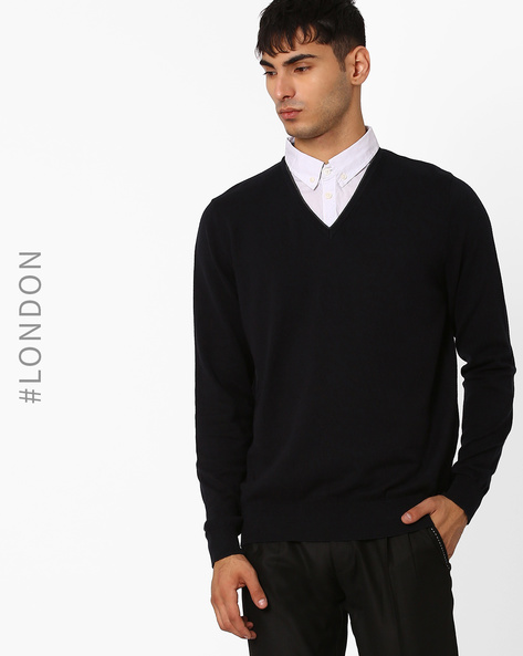 Mock Layered Pullover By Marks & Spencer ( Navy )