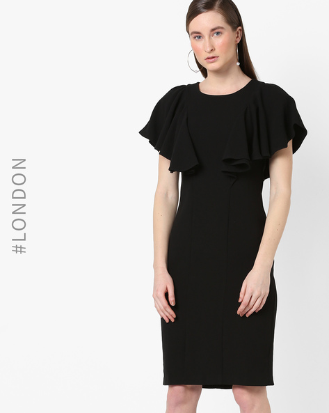 Bodycon Dress With Butterfly Sleeves By Closet London ( Black )