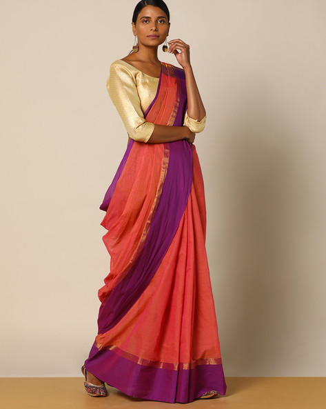 Edappadi Fine Cotton Saree With Contrast Border By Indie Picks ( Pink )