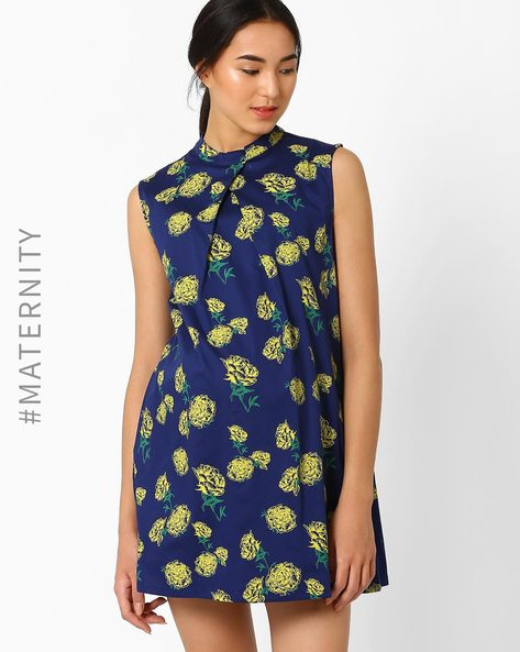 Floral Print Pleated A-Line Maternity Dress By AJIO ( Navyblue )
