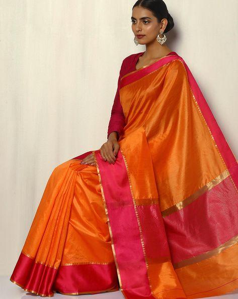 South Silk Saree With Zari Border By Pretty Woman ( Orange )