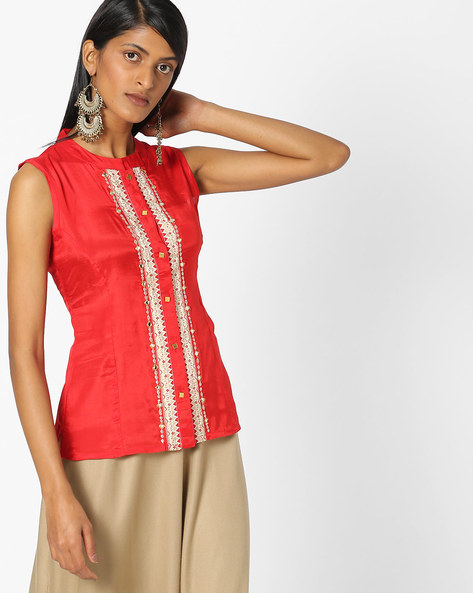 Sleeveless Top With Mandarin Collar By Indian Ink ( Red )