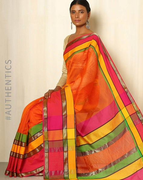 Handwoven Maheshwari Cotton Silk Saree By GoCoop ( Orange )