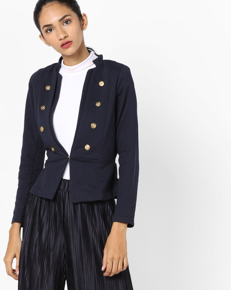 Embellished Jacket With Open Front By Ginger By Lifestyle ( Navy )