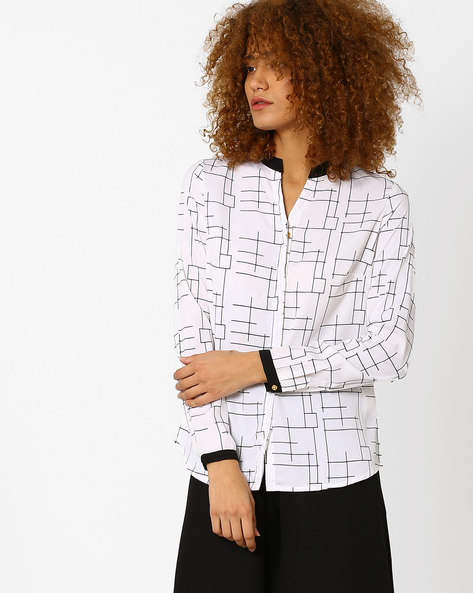 Printed Shirt With Contrast Trims By Annabelle By Pantaloons ( White )