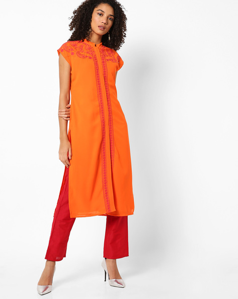 Open-Front Kurta With Chikankari Embroidery By AJIO ( Orange )