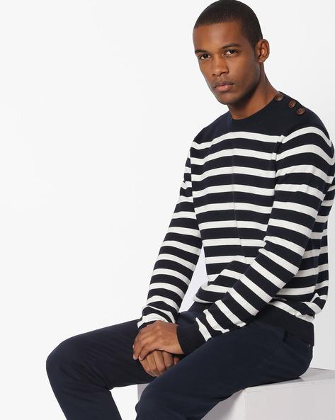 Striped Crew-Neck Sweater By Celio ( Navyblue )