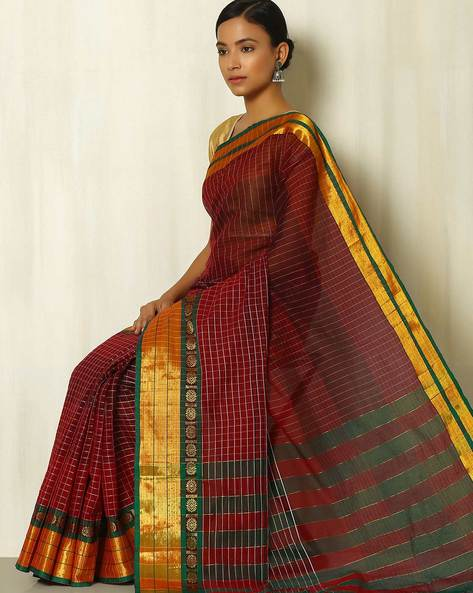 Cotton Checked Saree With Zari Border By Indie Picks ( Maroon )