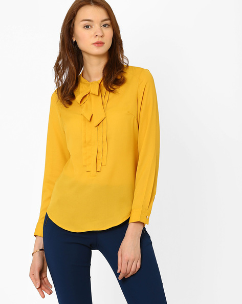 Tie-Collar Top By AJIO ( Yellow )