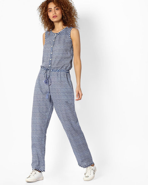 Printed Sleeveless Jumpsuit By Jiyaa ( Blue )