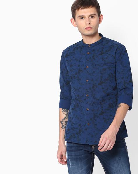 Printed Fil-a-Fil Slim Shirt With Mandarin Collar By AJIO ( Navy )