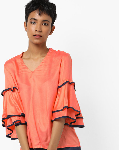 Boxy Top With Layered Sleeves By AJIO ( Coral )