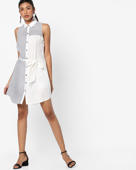 Striped Shirt Dress With Fabric Belt By AJIO ( White )