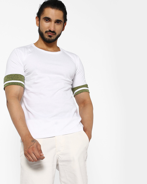 Cotton T-shirt With Panelled Sleeves By ANTIFERRO ( White )