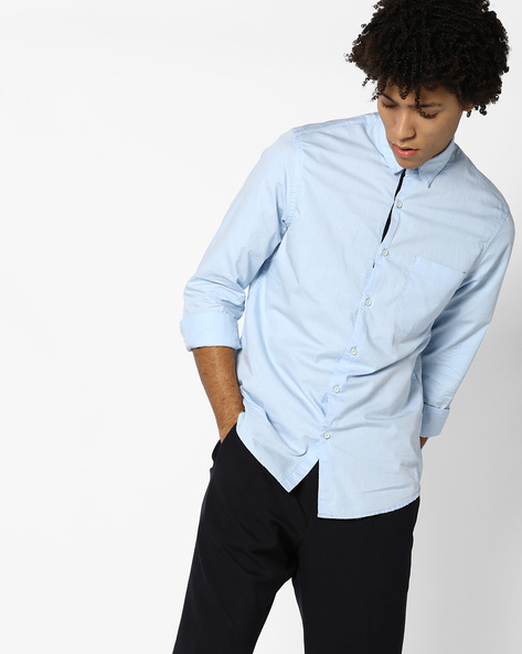 Self-Checked Shirt With Patch Pocket By AJIO ( Blue )