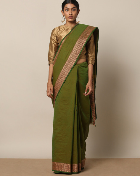 Kanchi Cotton Saree With Woven Border By Indie Picks ( Green ) - 460164744001