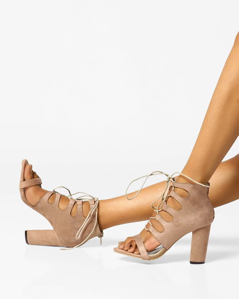 Heeled Sandals With Tie-Up By MFT Couture ( Taupe )