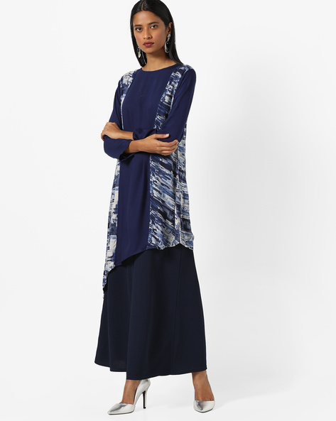 Panelled Print Kurta With Asymmetrical Hem By JASHN ( Blue )