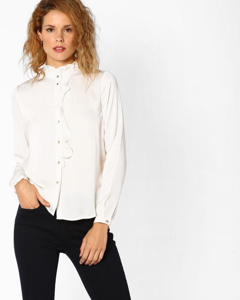 High-Neck Shirt With Ruffles By Vero Moda ( White )