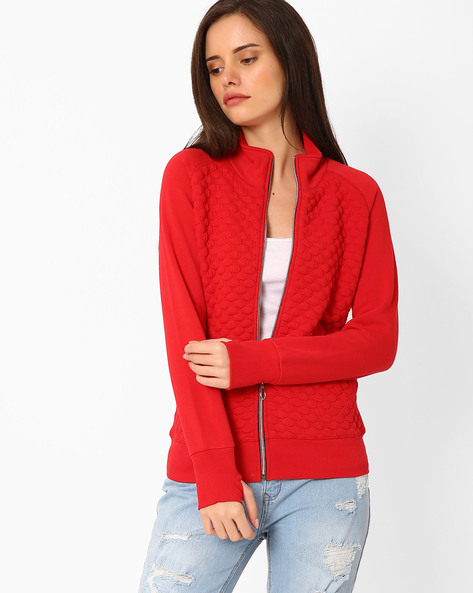 Front-Zip Sweatshirt With Stand Collar By TAANZ WOMENS ( Assorted )