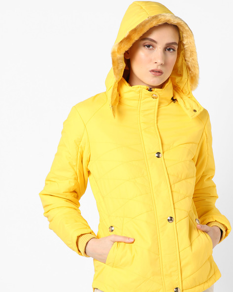Hooded Quilted Jacket By Fort Collins ( Yellow ) - 460142877001