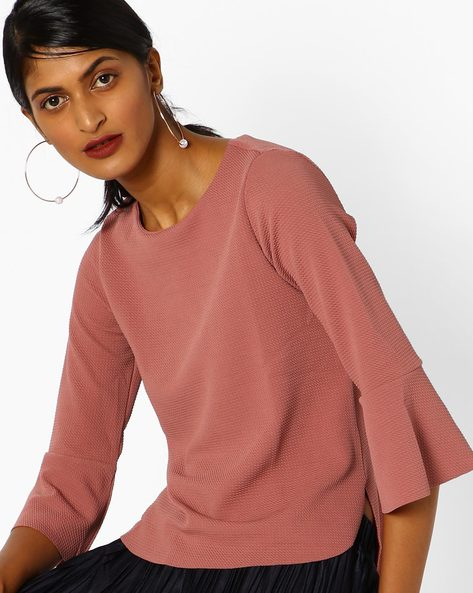 Textured Top With Bell Sleeves By CODE By Lifestyle ( Pink )