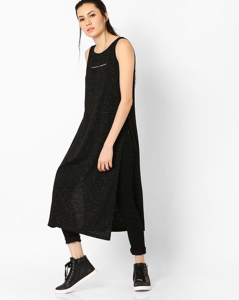 Knit Maxi Top With Side Slits By AJIO ( Black )