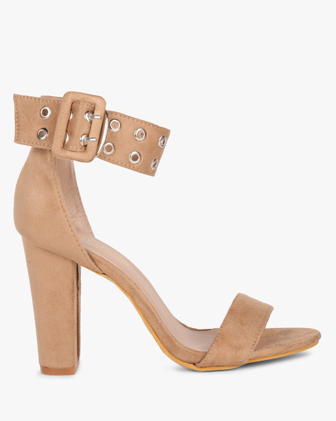 Ankle-Strap Chunky Heeled Sandals By MFT Couture ( Taupe )