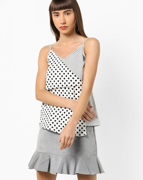 Strappy Polka-Dot Top With Overlapped Front By AJIO ( Offwhite )